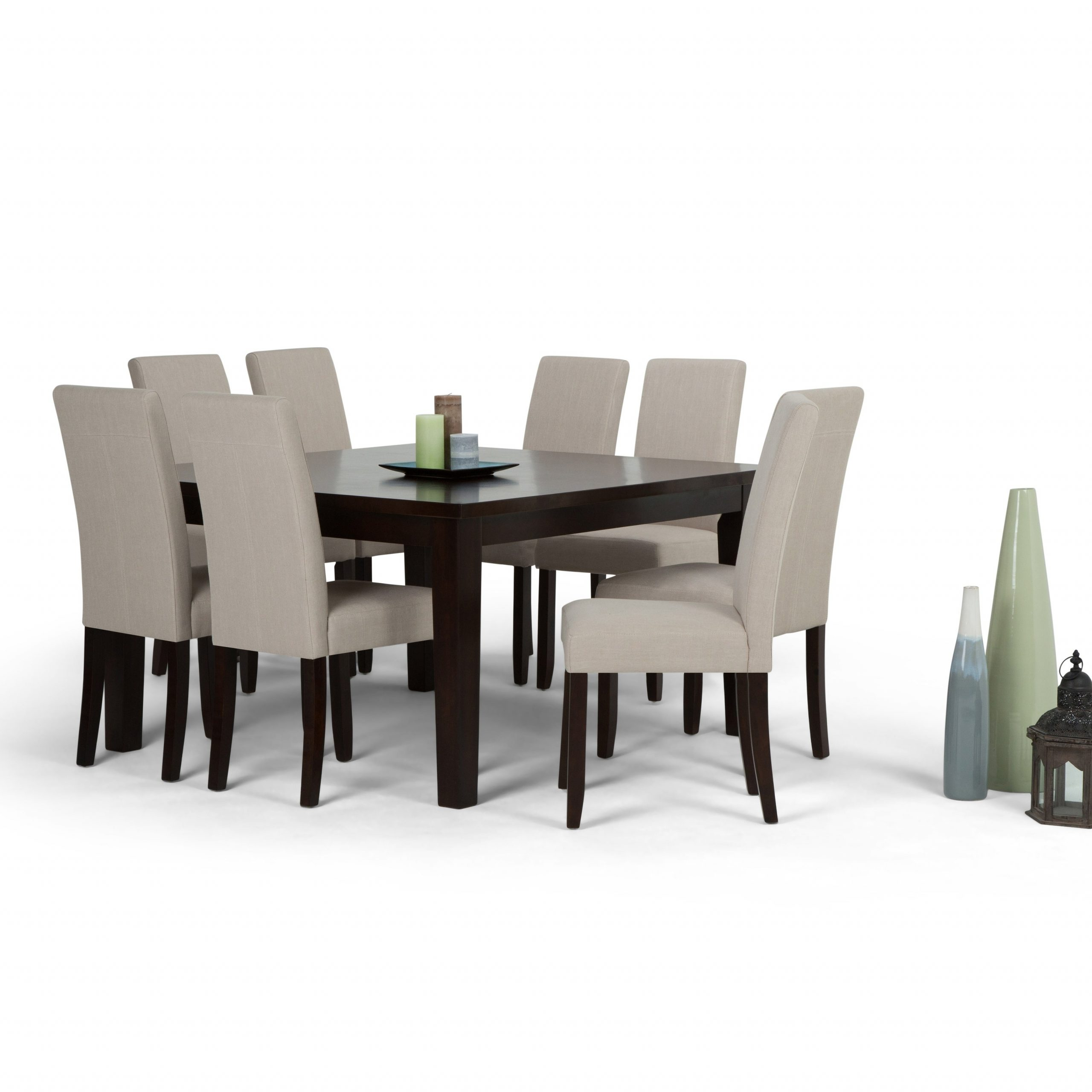 Wyndenhall Normandy Contemporary 9 Pc Dining Set With 8 Upholstered Parson Chairs And 54 Inch Wide Table For Most Popular Normandy Extending Dining Tables (View 21 of 25)