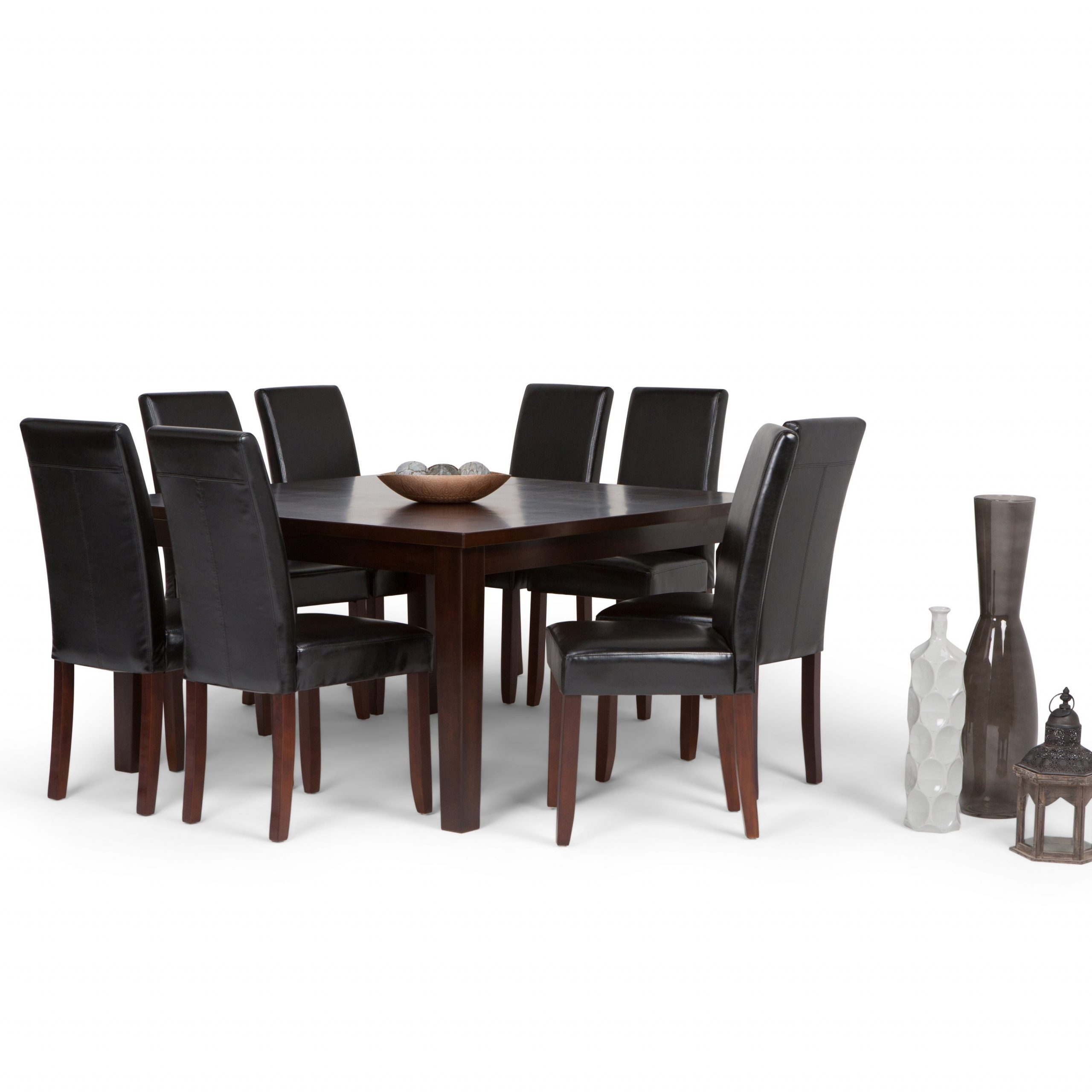 Wyndenhall Normandy Contemporary 9 Pc Dining Set With 8 Upholstered Parson Chairs And 54 Inch Wide Table In Most Current Normandy Extending Dining Tables (View 14 of 25)