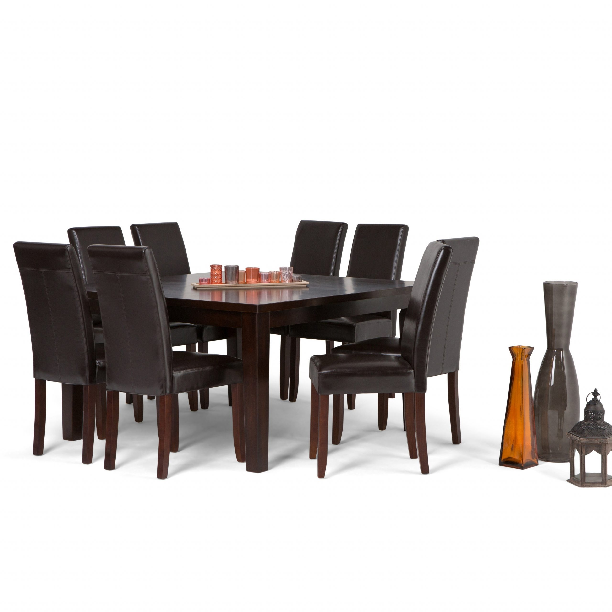 Wyndenhall Normandy Contemporary 9 Pc Dining Set With 8 Upholstered Parson Chairs And 54 Inch Wide Table Regarding Newest Normandy Extending Dining Tables (View 16 of 25)