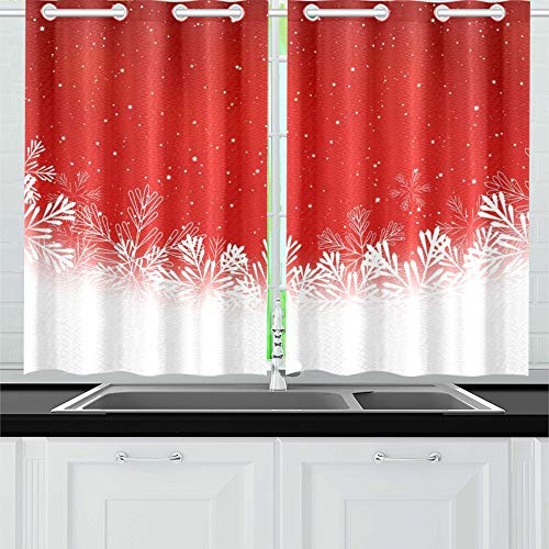 Xingchenss Christmas Snowflakes On Red Kitchen Curtains Window Curtain Tiers For Café, Bath, Laundry, Living Room Bedroom 26 X 39 Inch 2 Pieces In Kitchen Curtain Tiers (View 20 of 25)