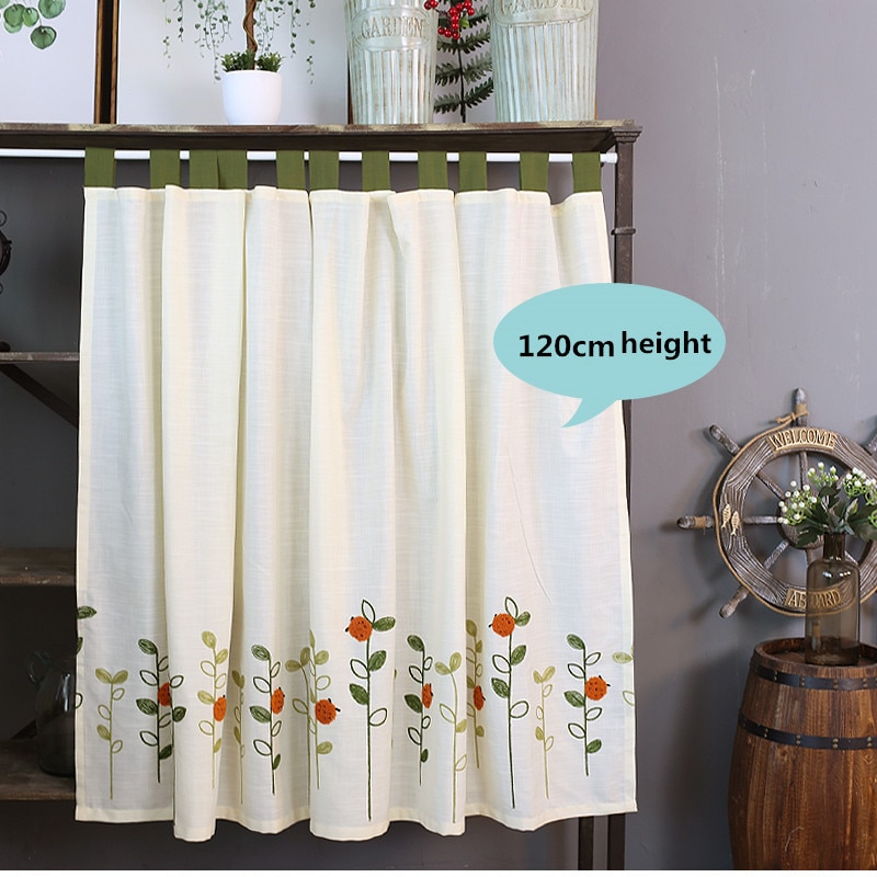Xyzls Pastoral Style Ladybugs Embroidered Kitchen Half Curtain Kitchen Curtain Cafe Short Panel Curtain 1 Piece With Regard To Embroidered Ladybugs Window Curtain Pieces (View 6 of 25)
