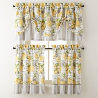 Yellow Achim Home Furnishings Lemon Drop Tier And Valance Inside Lemon Drop Tier And Valance Window Curtain Sets (Image 24 of 25)