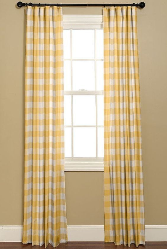 Yellow And White Buffalo Check Curtains (View 24 of 25)