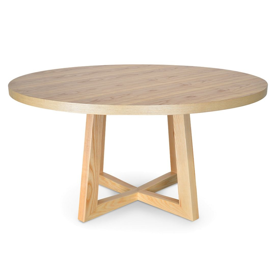 Zodiac 1.5M Round Dining Table – Natural In 2019 | Round Within Most Recently Released Gray Wash Benchwright Pedestal Extending Dining Tables (Photo 21 of 25)