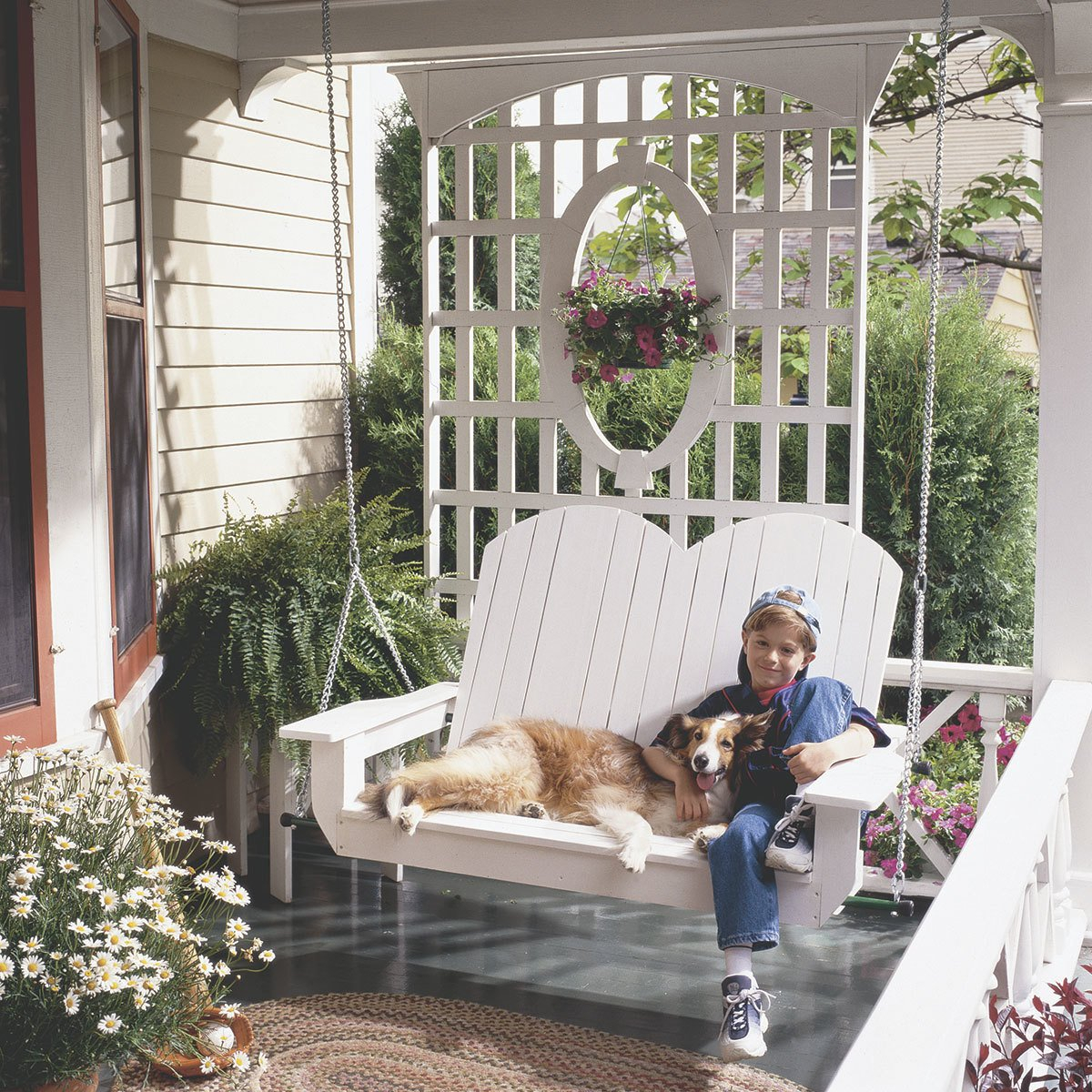 10 Pretty Porch Swings – The Family Handyman In Canopy Patio Porch Swings With Pillows And Cup Holders (View 21 of 25)