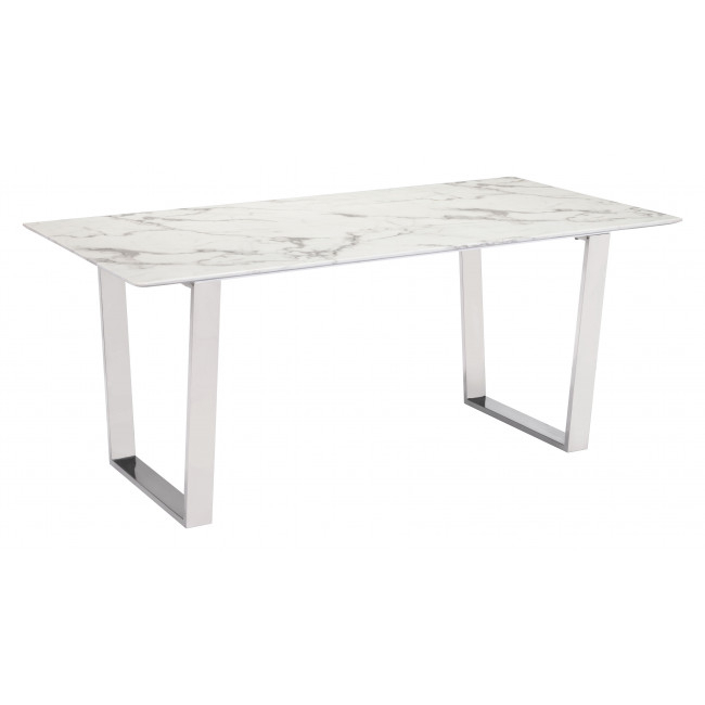 100707 – Atlas Dining Table Stone & Brushed Stainless Steel Intended For Dining Tables With Brushed Gold Stainless Finish (Image 2 of 25)