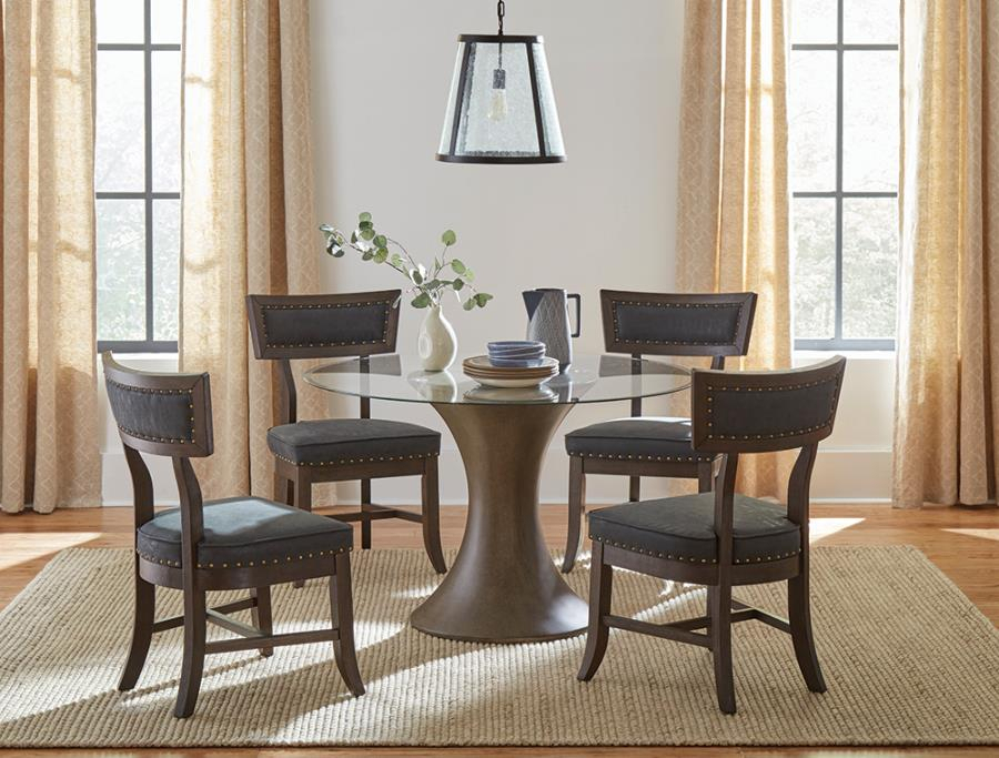 "109310 5 Pc Wildon Home Cullman Bronze Finish Wood 48"" Round Glass Top Dining Table Set Regarding Round Glass Top Dining Tables (View 26 of 26)"