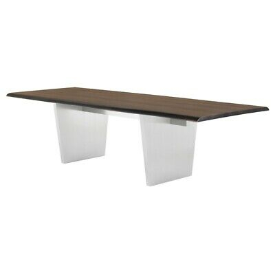 "112"" L Dining Table Seared Live Edge Oak Top Brushed Stainless Steel Legs 