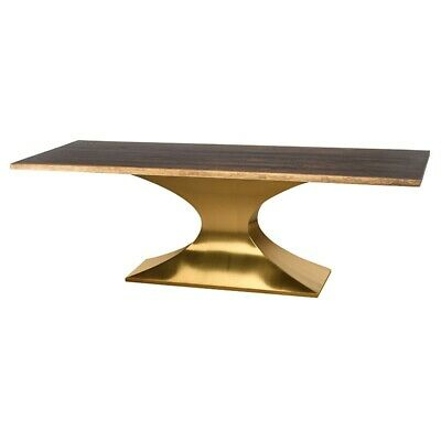"112"" L Silas Dining Table Hand Crafted Seared Oak Brushed Gold Pedestal  Steel 