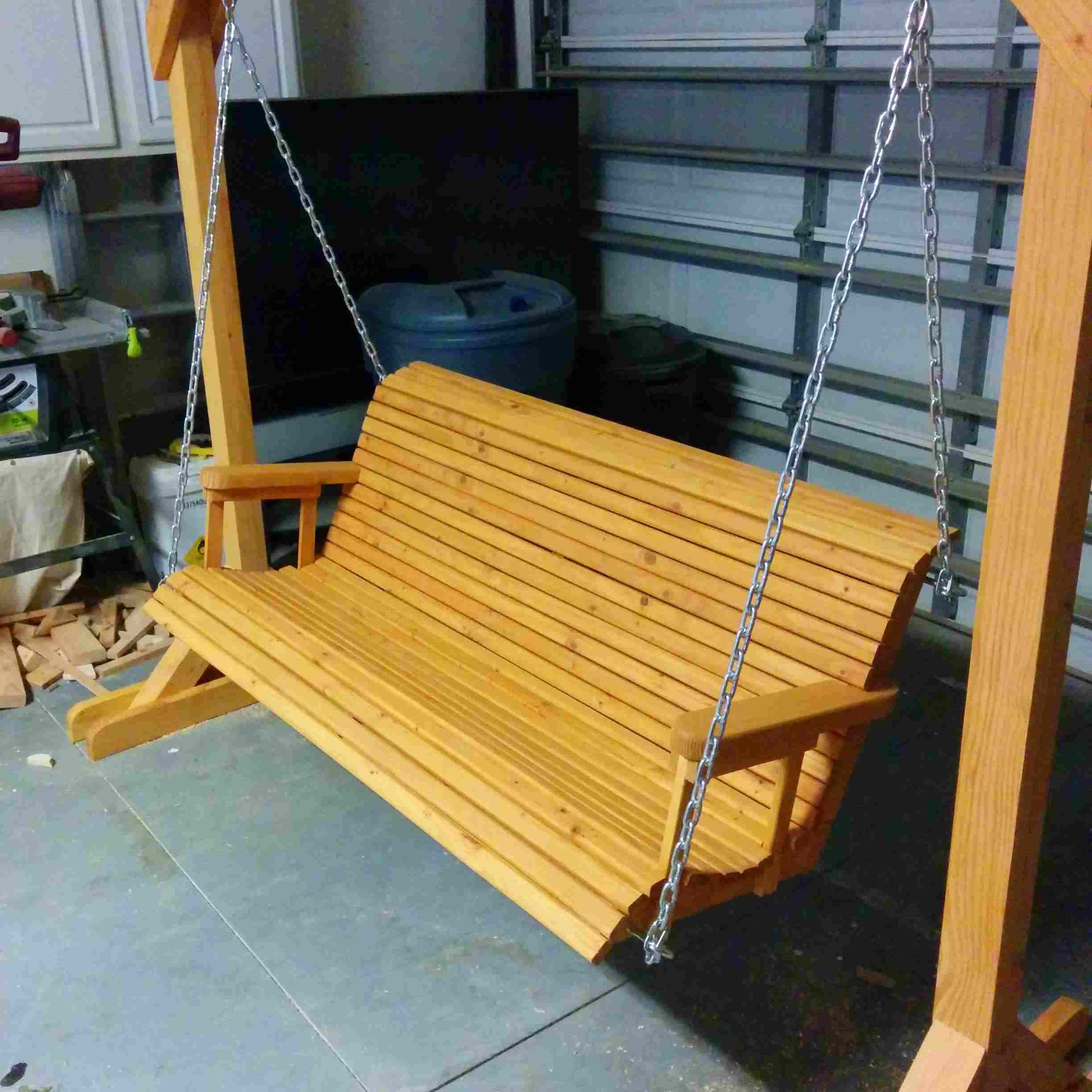 12 Free Porch Swing Plans To Build At Home Intended For A4 Ft Cedar Pergola Swings (Image 1 of 25)