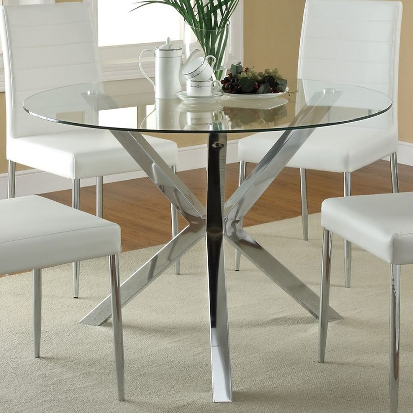 120760 Round Glass Top Dining Table | Glass Round Dining Throughout Modern Round Glass Top Dining Tables (Image 1 of 25)