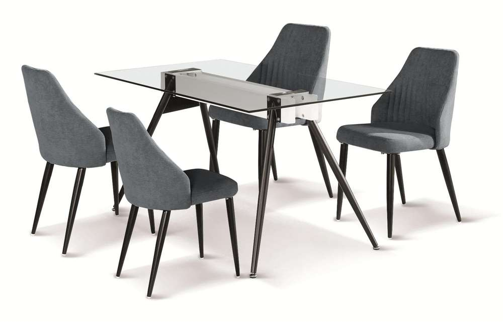 140Cm Glass Dining Table And 4 Grey Fabric Chairs With Glass Dining Tables With Metal Legs (View 11 of 25)