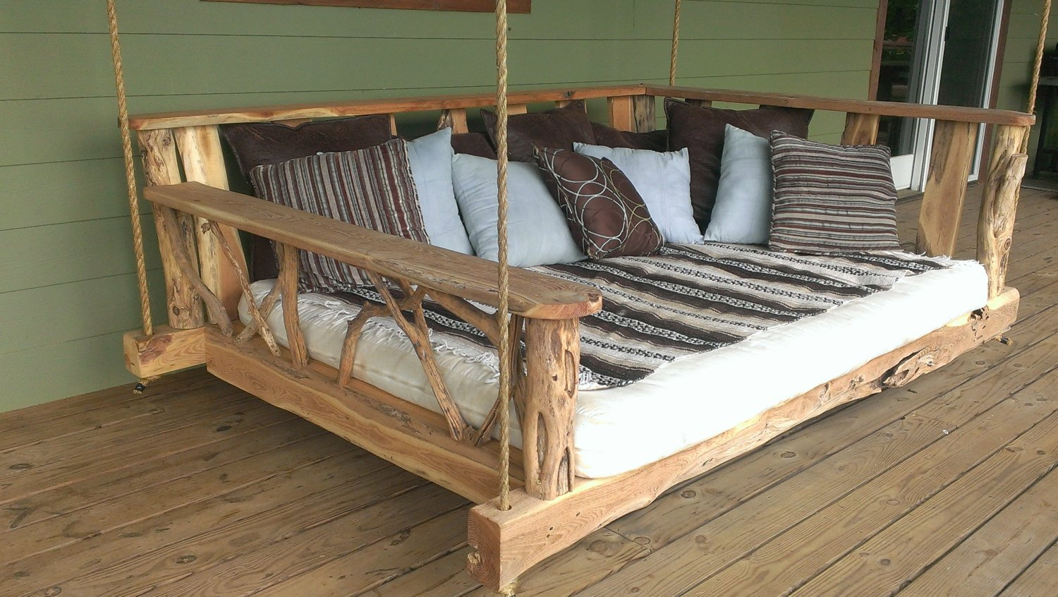 15 Custom Handcrafted Porch Swing Designs – Style Motivation Intended For Daybed Porch Swings With Stand (View 9 of 25)