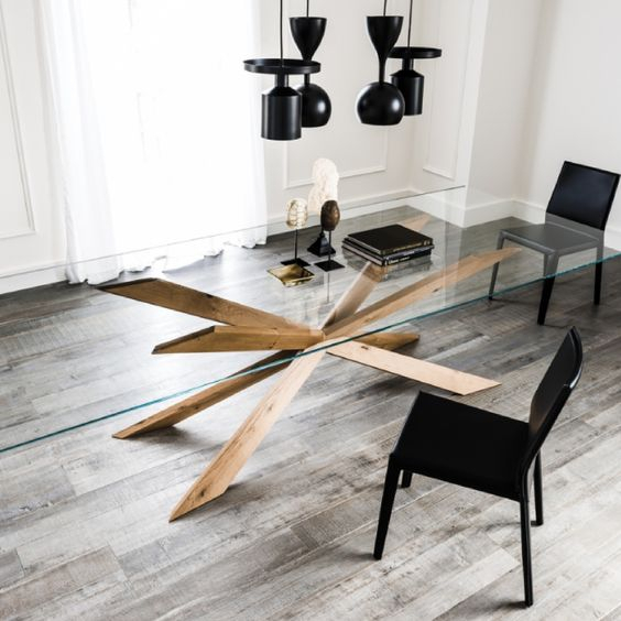 15 Glass Dining Tables For A Statement – Shelterness Intended For Glass Dining Tables With Metal Legs (View 17 of 25)