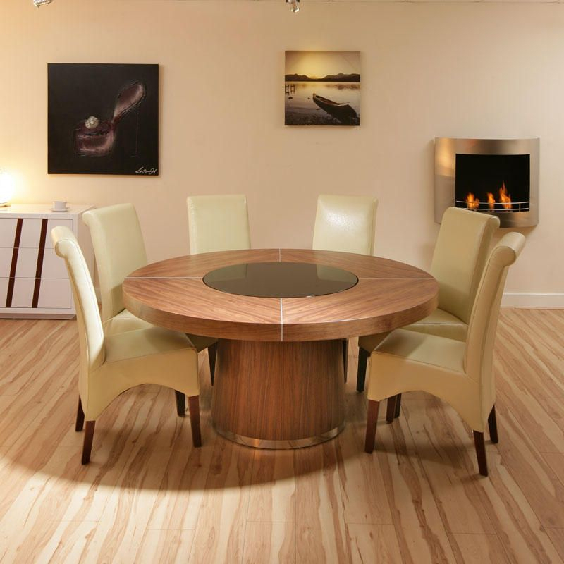160Cm D Seats 8 10 Large Round Walnut Dining Table, Black Intended For Neo Round Dining Tables (Image 1 of 25)