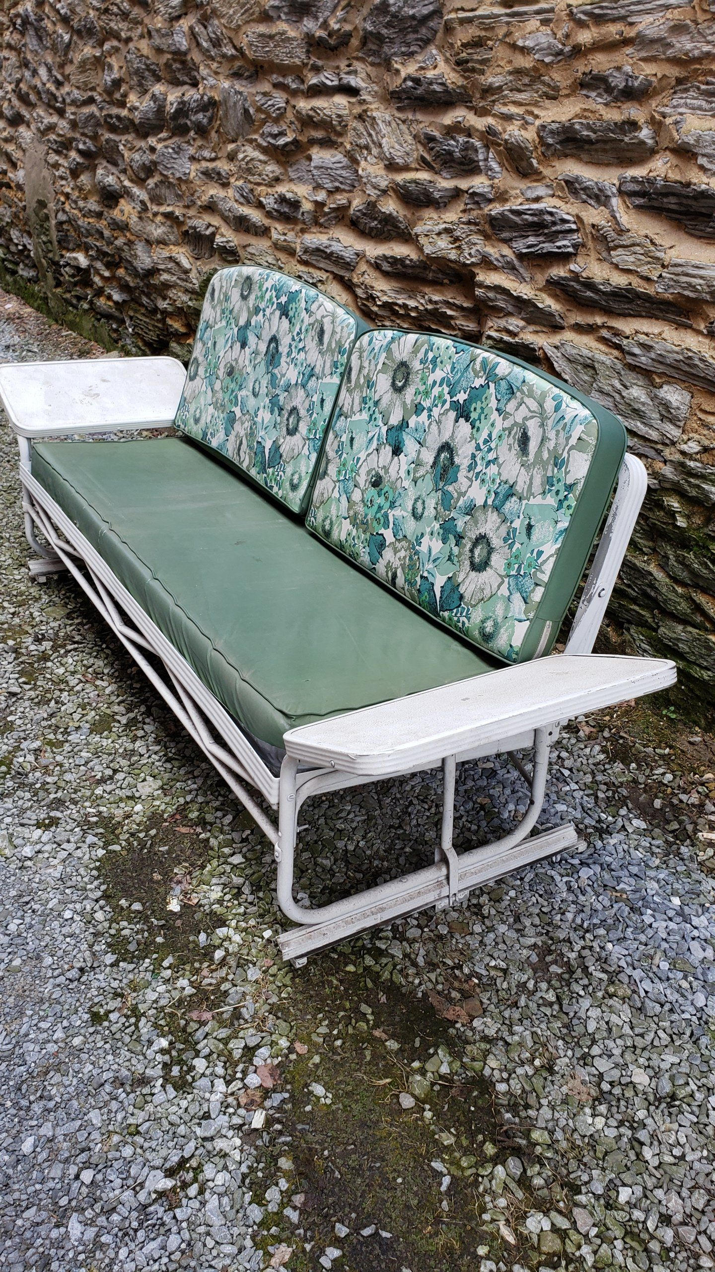 1950S Aluminum Porch Glider | Porch Glider, Glider Cushions Intended For Aluminum Glider Benches With Cushion (View 25 of 25)