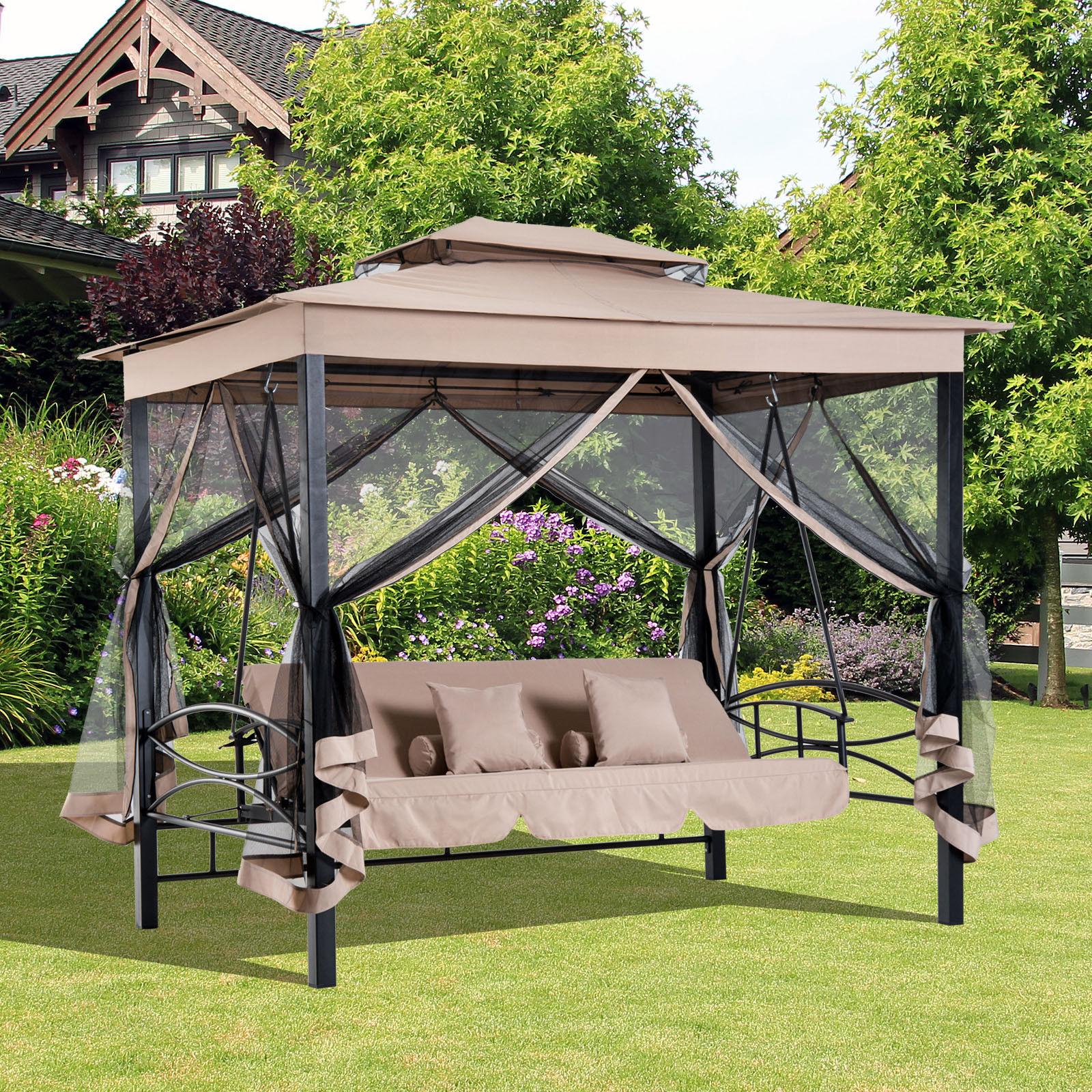2 In 1 Tree Seater Swing Hammock Gazebo Day Bed With 3 Seat Pergola Swings (View 11 of 25)