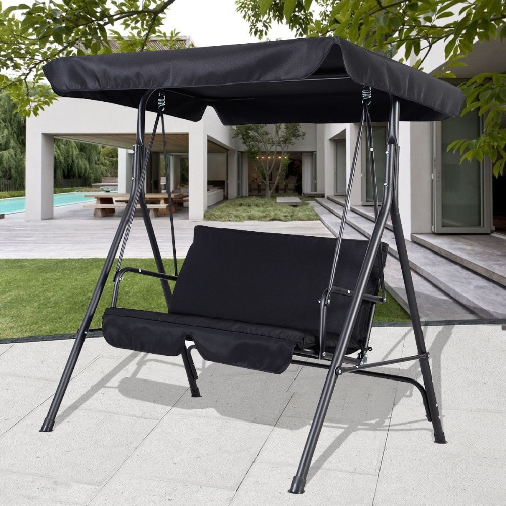2 Person Black Outdoor Patio Swing Canopy Awning Yard Pertaining To 2 Person Black Steel Outdoor Swings (Image 3 of 25)