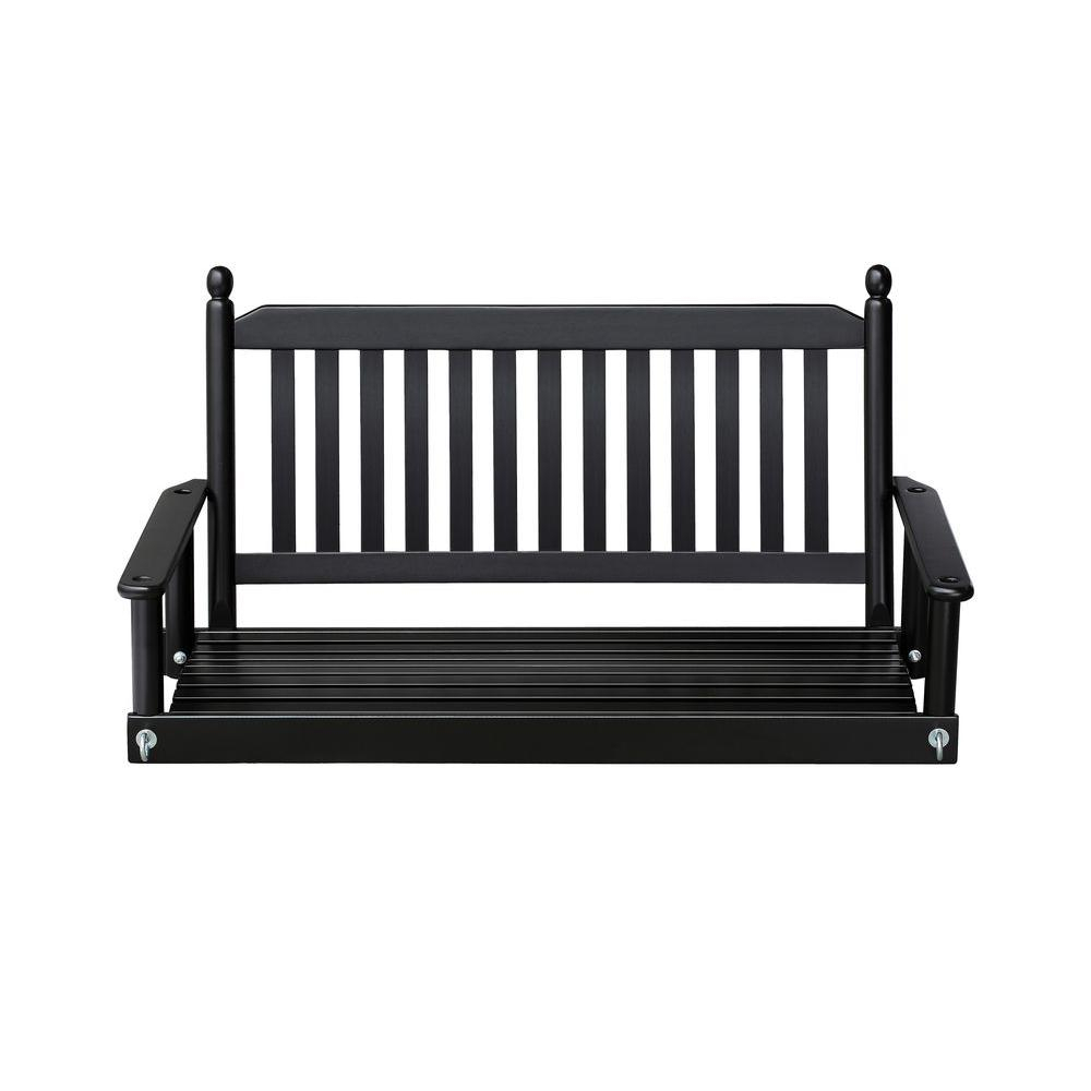 2 Person Black Porch Swing 204Psbf Rta | Porch Swing, Porch For 2 Person Black Wood Outdoor Swings (View 2 of 25)