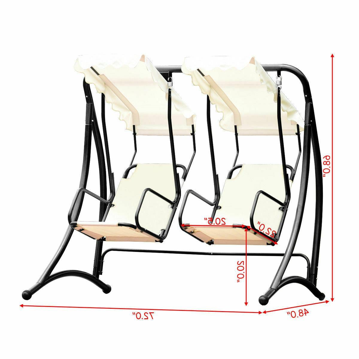 2 Person Hammock Porch Swing Patio Outdoor Hanging Pertaining To 2 Person Hammock Porch Swing Patio Outdoor Hanging Loveseat Canopy Glider Swings (Image 1 of 25)