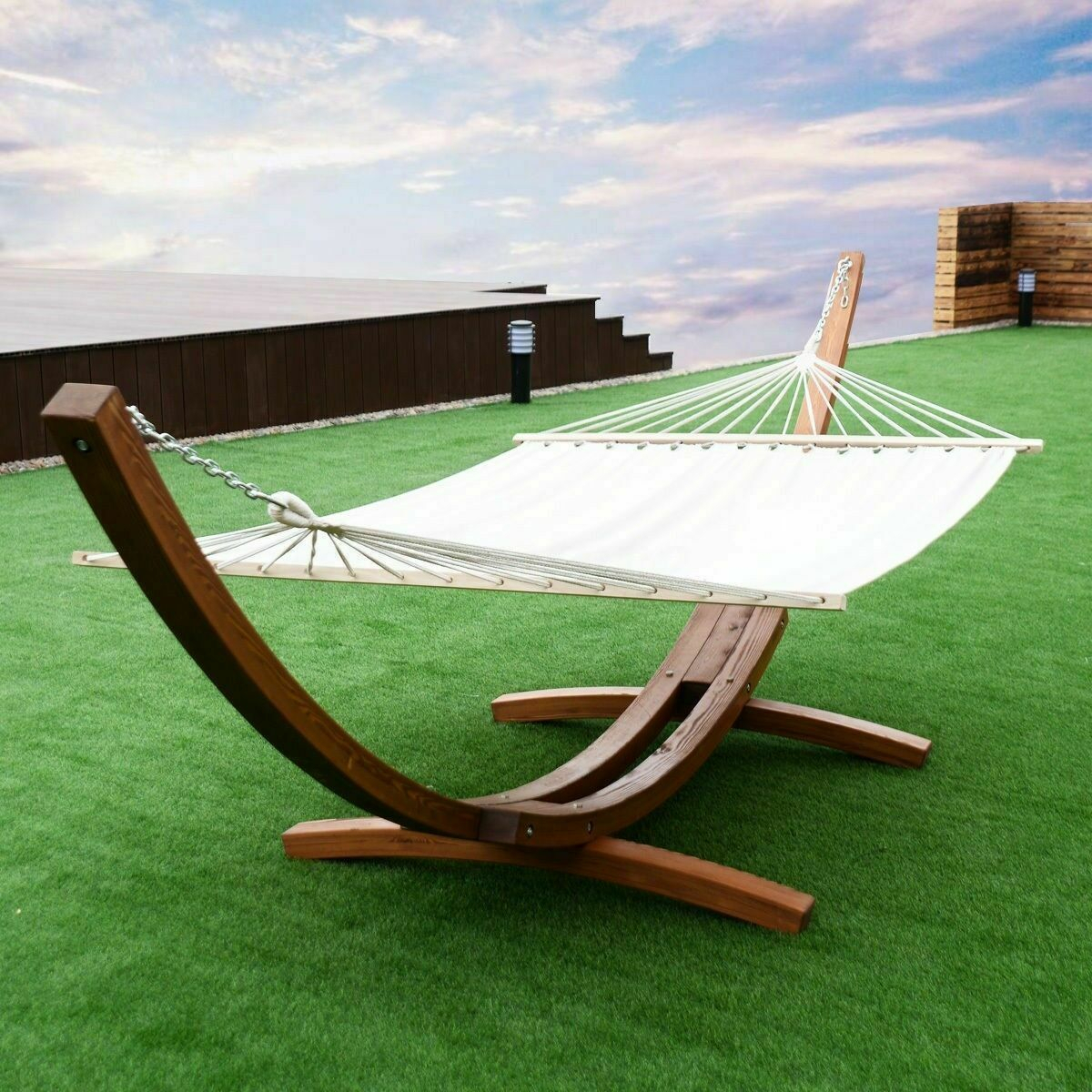 2 Person Hanging Quilted Hammock With Stand Wooden Arc Swing Chair Outdoor Set In 2 Person Black Wood Outdoor Swings (View 25 of 25)