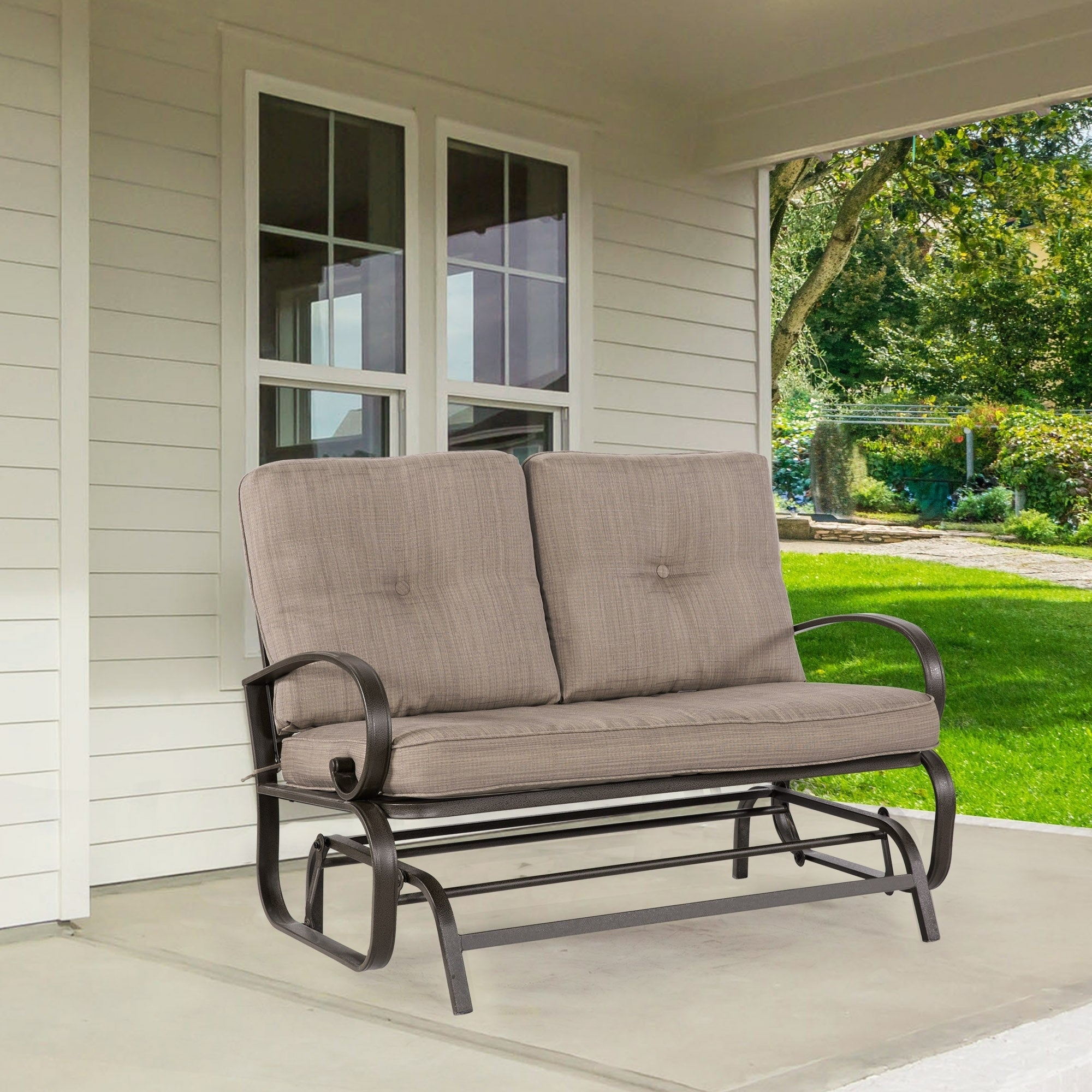 2 Person Loveseat Cushioned Rocking Bench Furniture Patio Swing Rocker Lounge Glider Chair Outdoor Patio, Gradient Brown Inside 2 Person Loveseat Chair Patio Porch Swings With Rocker (View 18 of 25)