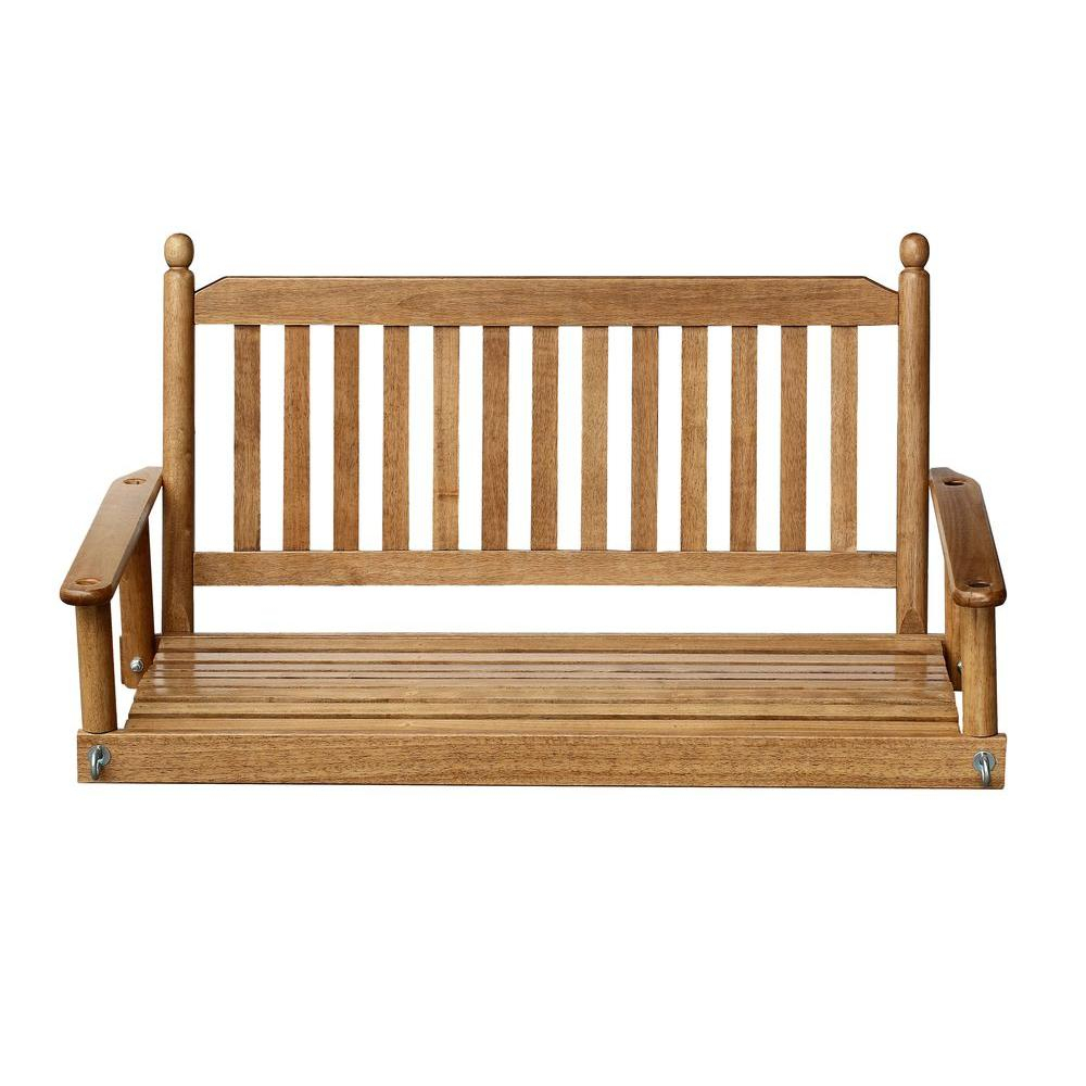 2 Person Maple Porch Swing Pertaining To Casual Thames White Wood Porch Swings (Image 1 of 25)
