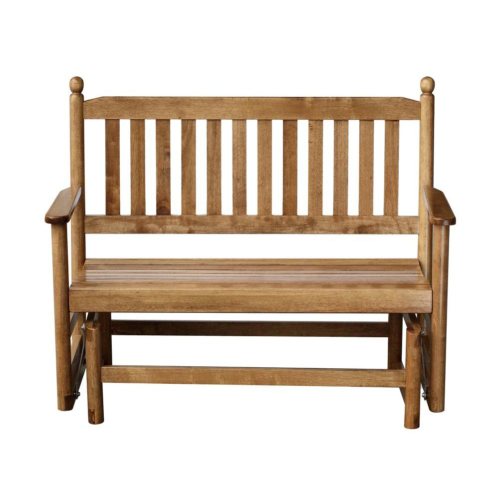 2 Person Maple Wood Outdoor Patio Glider Regarding Indoor/outdoor Double Glider Benches (View 24 of 25)