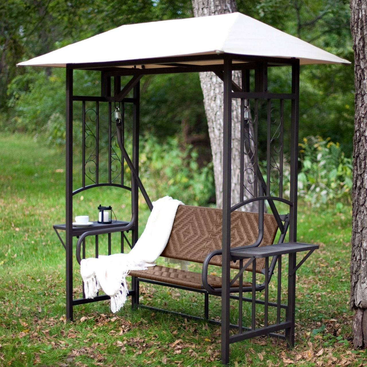 2 Person Natural Brown Resin Wicker Gazebo Canopy Porch In Patio Gazebo Porch Canopy Swings (View 11 of 25)