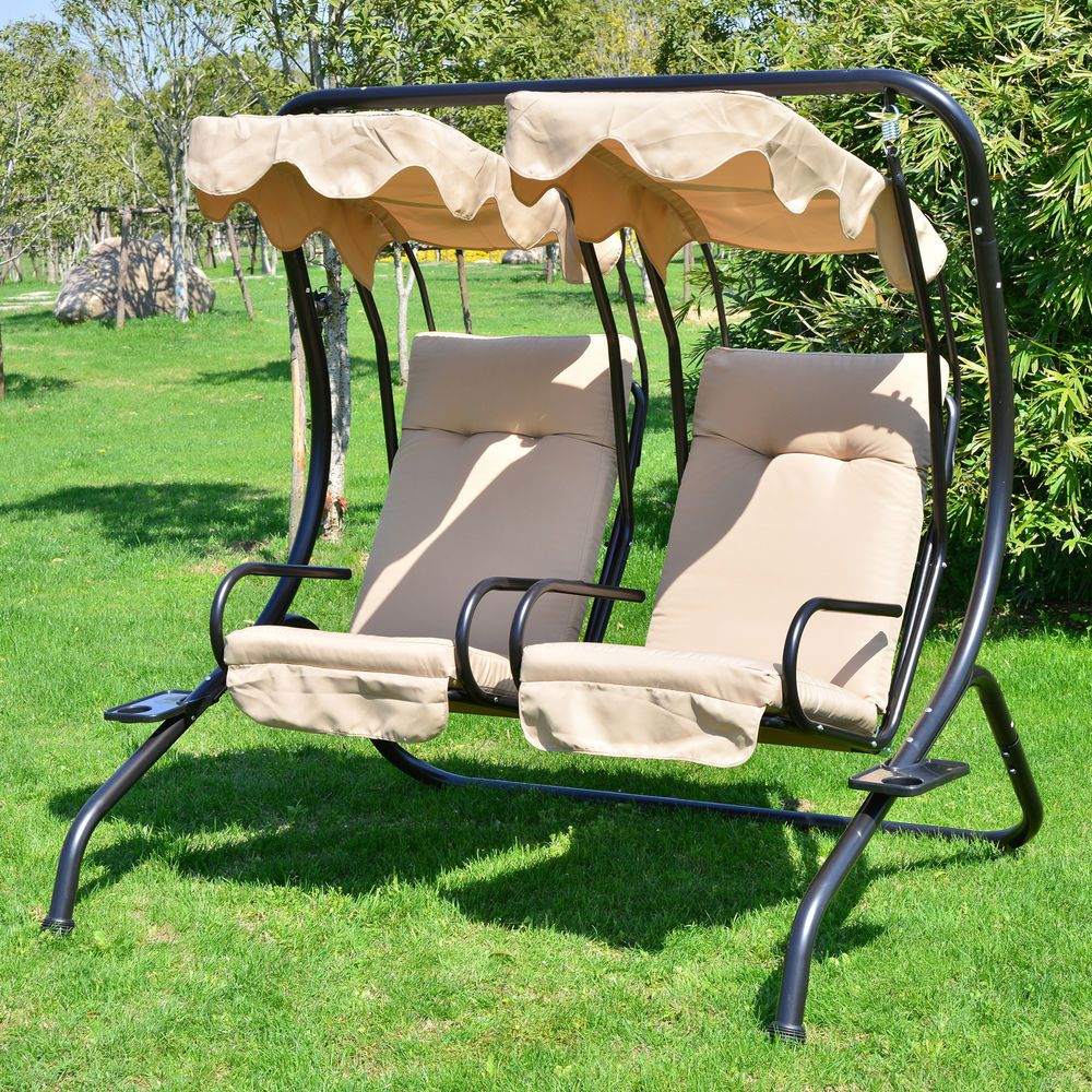 2 Person Outdoor Swing Seat Patio Hammock Furniture Bench Throughout 2 Person Hammock Porch Swing Patio Outdoor Hanging Loveseat Canopy Glider Swings (View 3 of 25)