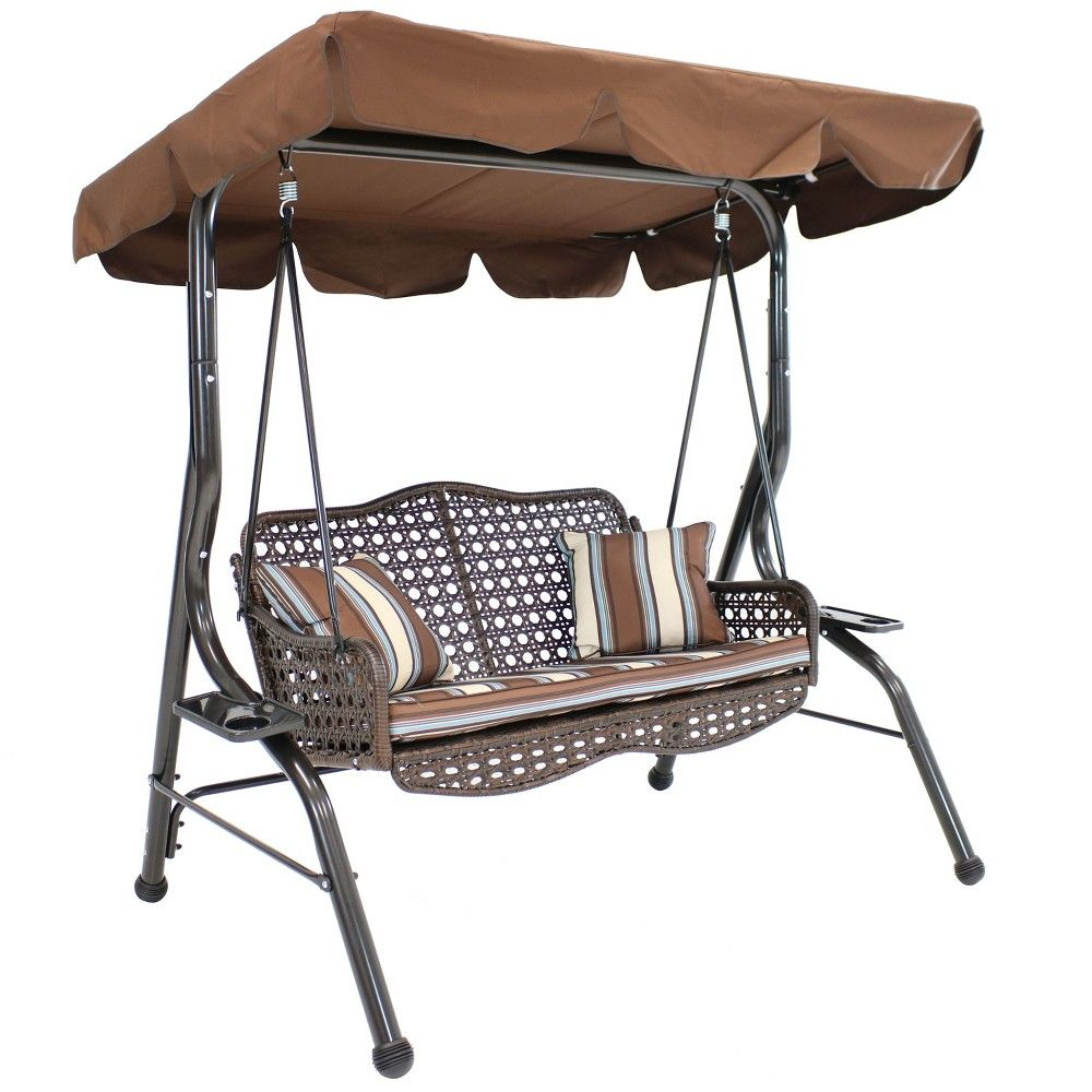2 Person Rattan Patio Swing With Adjustable Tilt Canopy And In 2 Person Adjustable Tilt Canopy Patio Loveseat Porch Swings (Image 1 of 25)