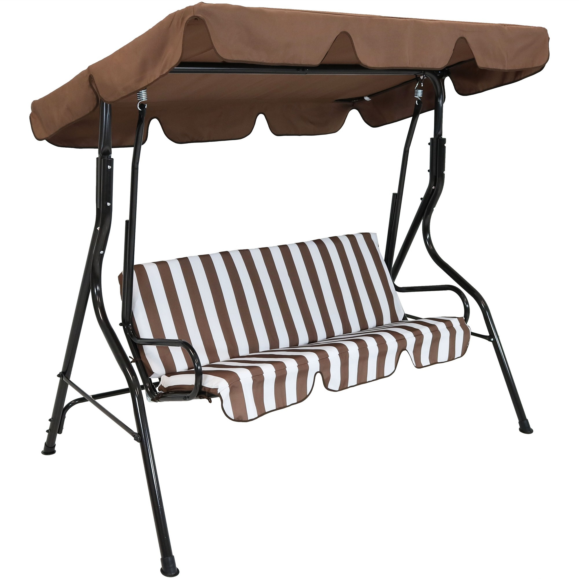 2 Person Steel Frame Porch Swing With Adjustable Canopy Pertaining To 2 Person Black Steel Outdoor Swings (Image 4 of 25)