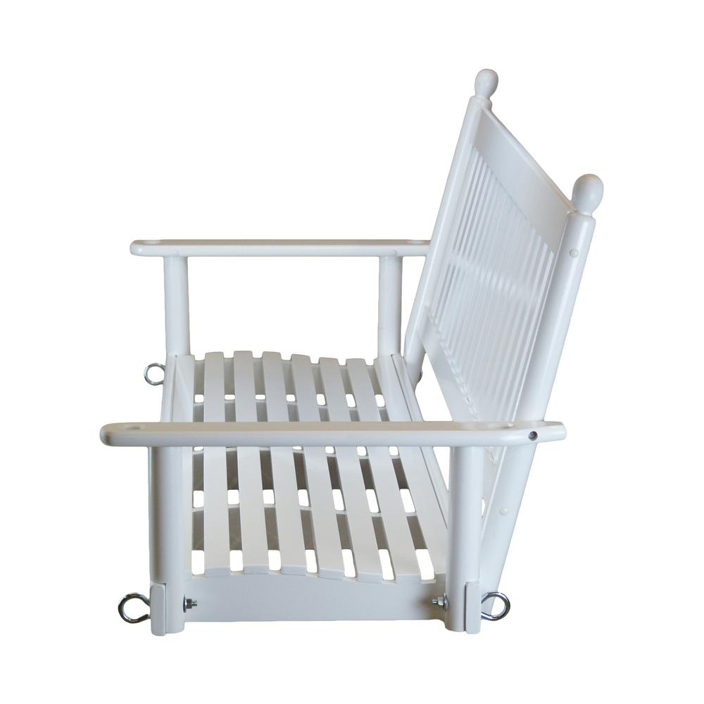 2 Person White Patio Swing 204Psw Rta – The Home Depot Throughout 2 Person White Wood Outdoor Swings (View 5 of 25)
