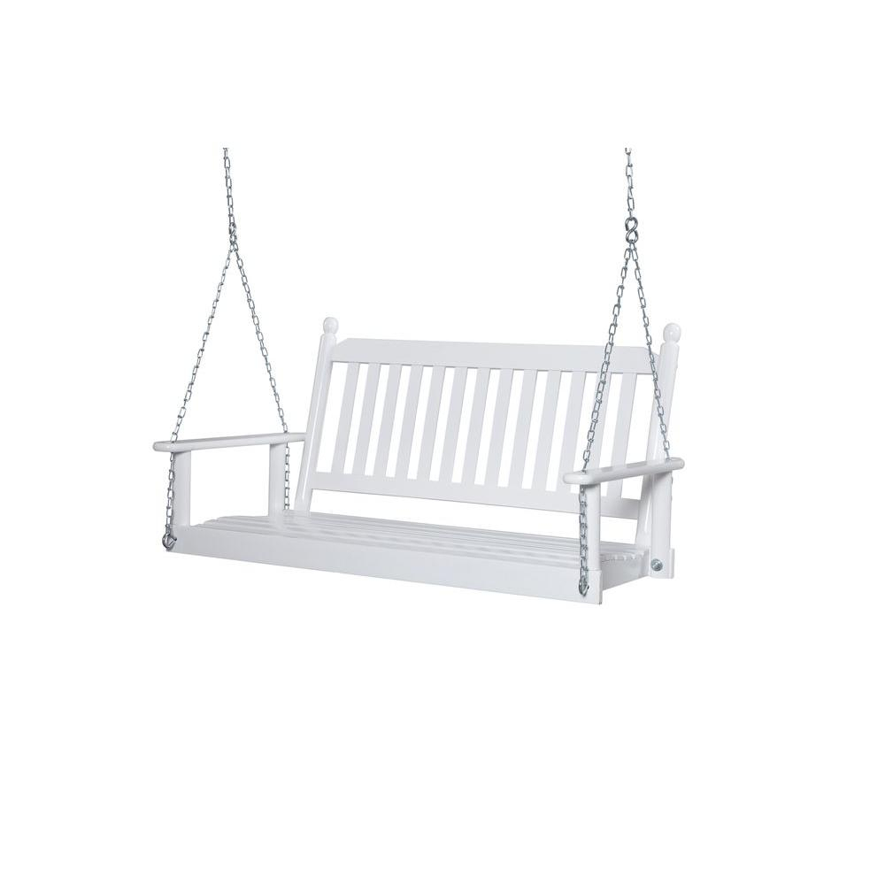 2 Person White Porch Swing With Regard To 2 Person White Wood Outdoor Swings (View 7 of 25)