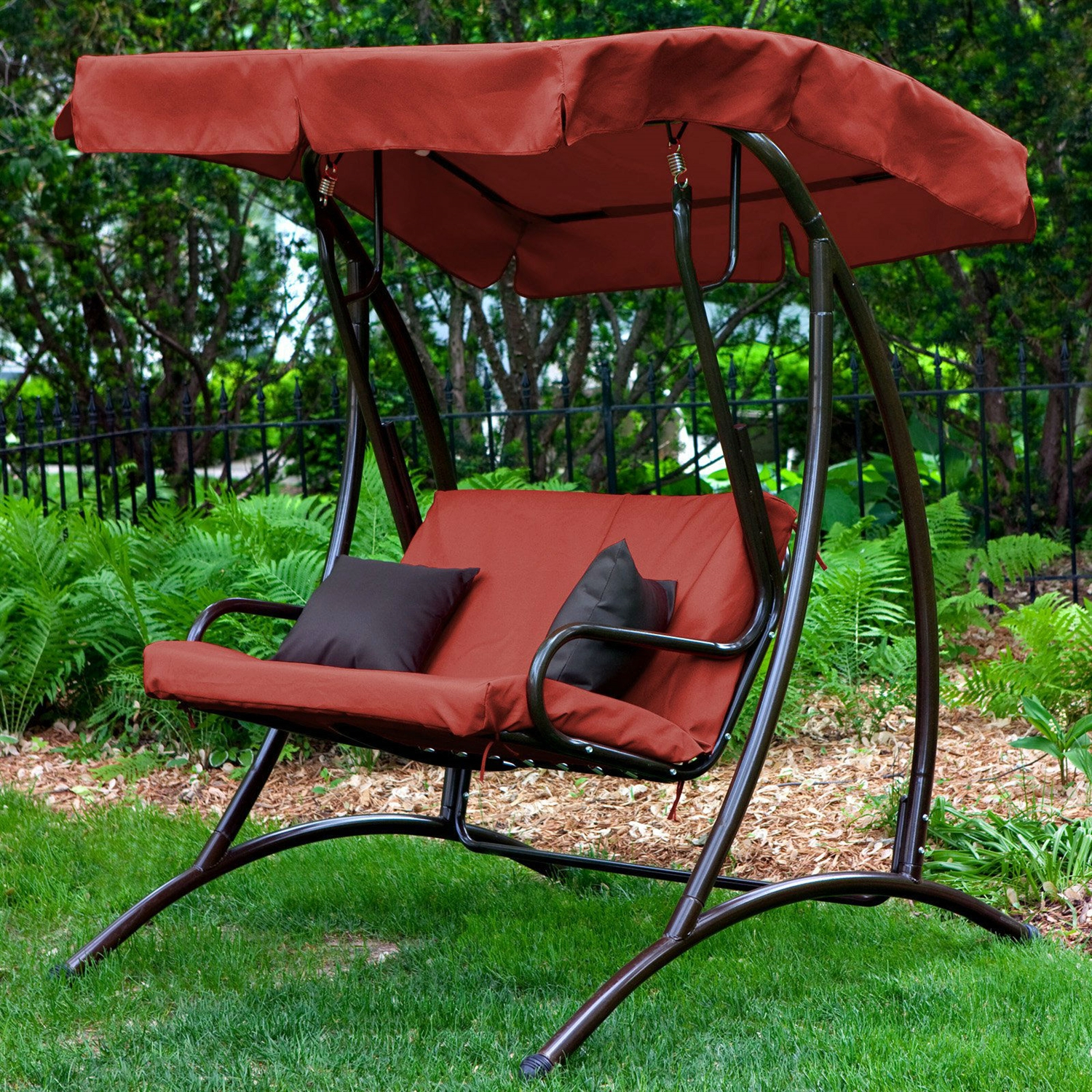 2 Seat Outdoor Porch Swing With Canopy In Terracotta Red For Porch Swings With Canopy (View 15 of 25)