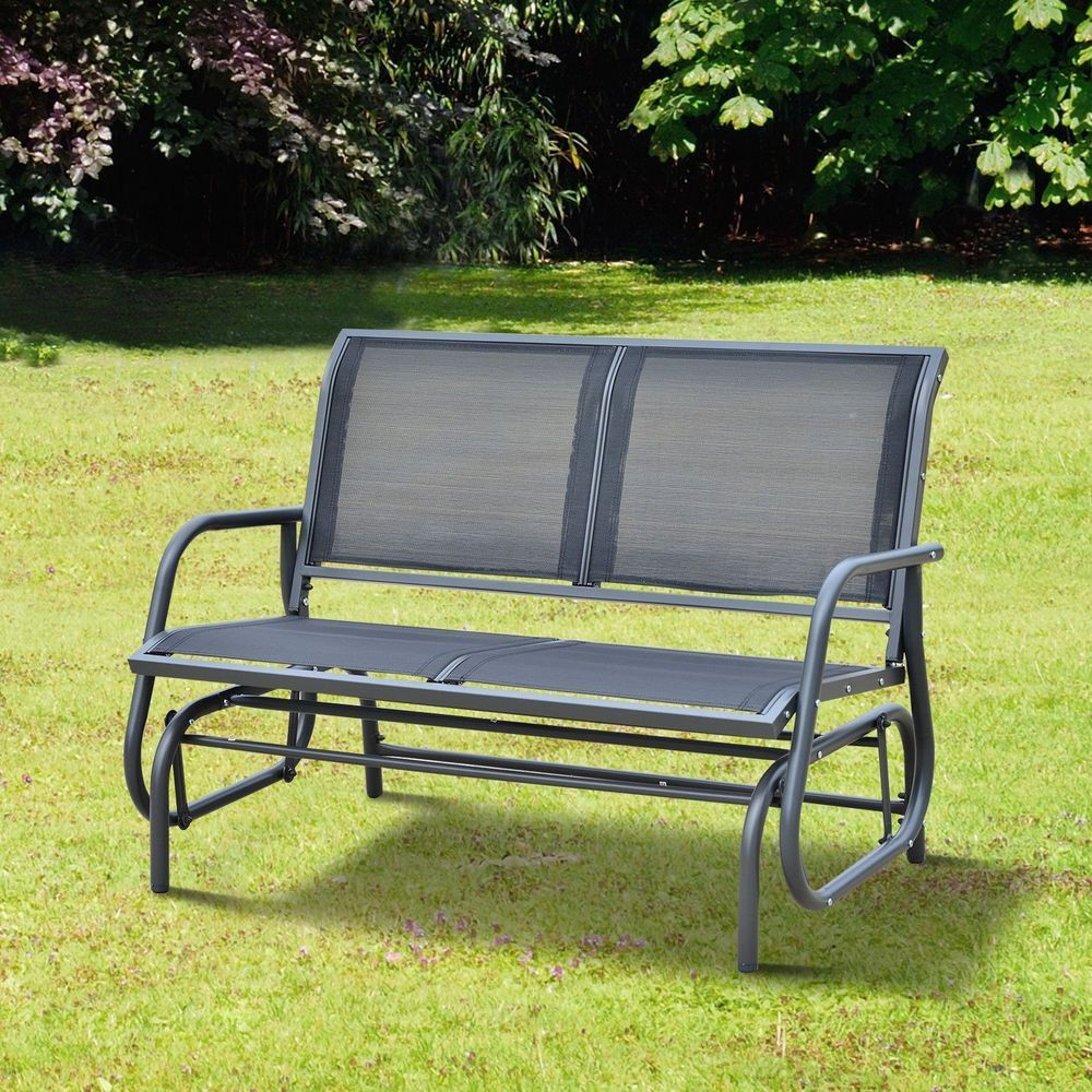 2 Seater Garden Swing Bench Chair Steel Frame Grey Color In Steel Patio Swing Glider Benches (View 15 of 25)
