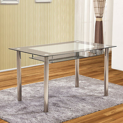 2 Tier Tempered Glass Dining Tables Metal Legs Kitchen Throughout Glass Dining Tables With Metal Legs (View 12 of 25)
