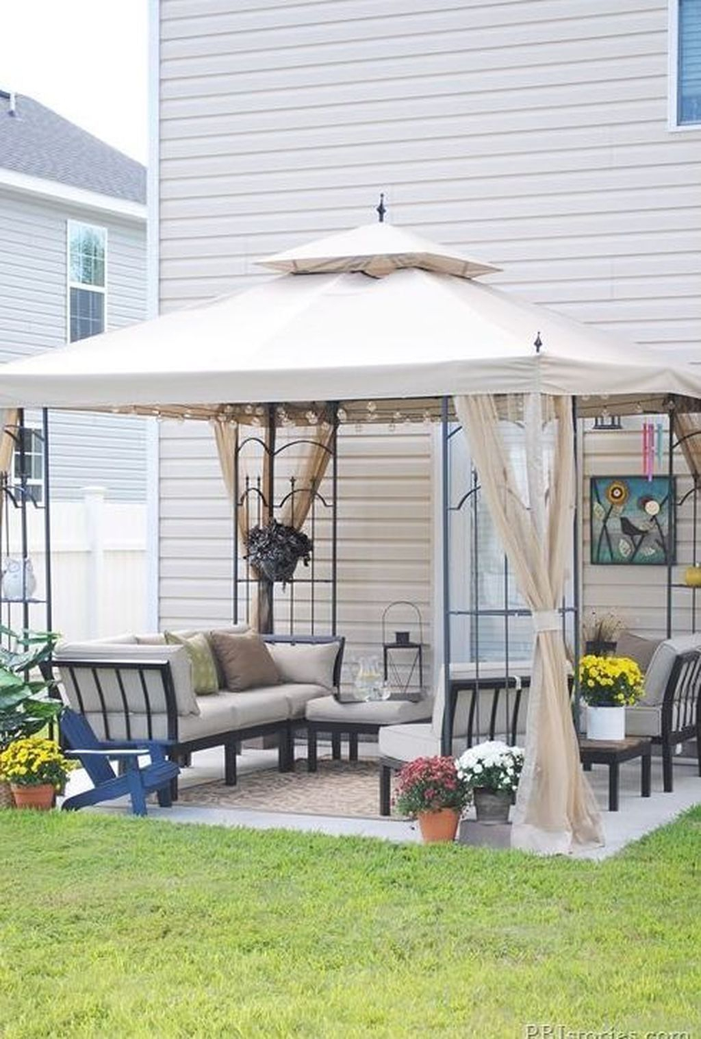 20+ Beautiful Small Backyard Makeover S Ideas On A Budget Pertaining To A4 Ft Cedar Pergola Swings (Image 3 of 25)