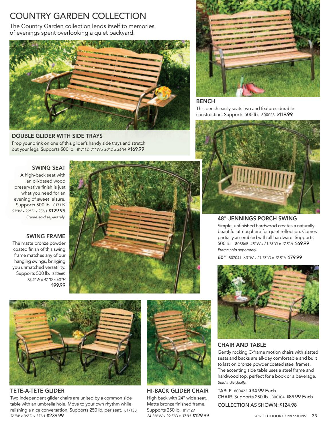 2017 Outdoor Expressions Catalogbrian Secor – Issuu Intended For Outdoor Swing Glider Chairs With Powder Coated Steel Frame (View 11 of 25)
