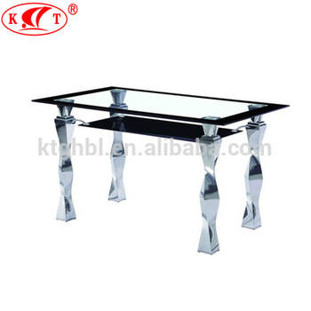 2018 Tempered Glass Top And Chrome Leg Two Layers Glass Dining Table – Buy Glass Top And Chrome Leg Two Layers Glass Dining Table,4 Seaters Dining For Chrome Dining Tables With Tempered Glass (View 21 of 25)