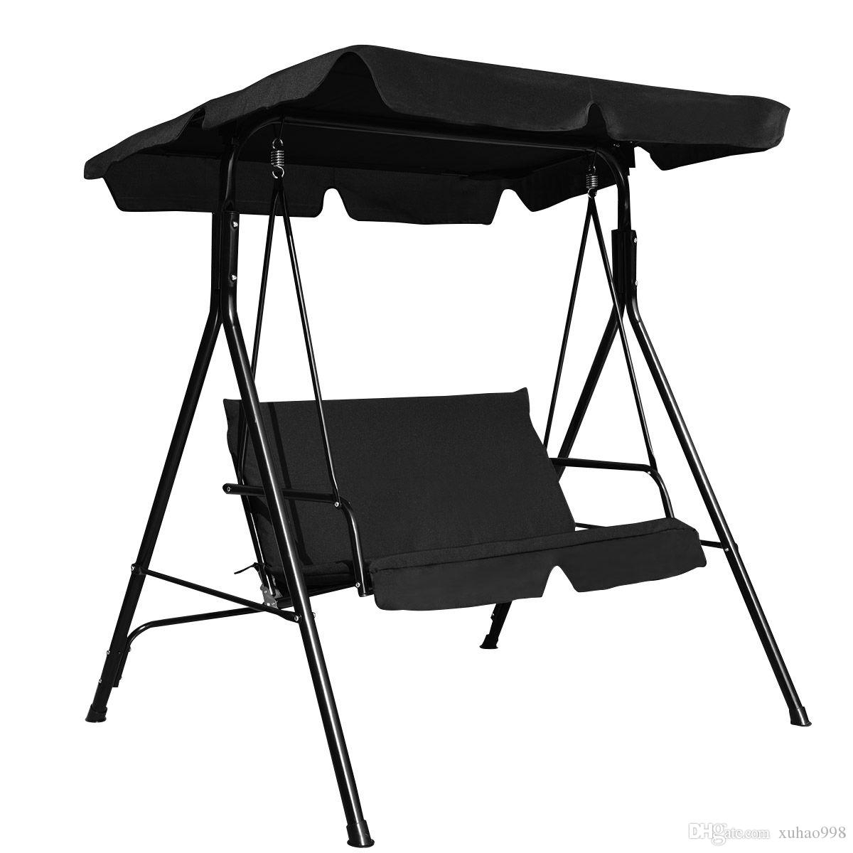 2019 Loveseat Patio Canopy Swing Glider Hammock Cushioned Steel Frame  Outdoor Black From Xuhao998, $ (Image 1 of 25)