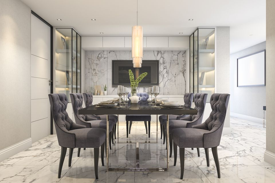 25 Gray Dining Room Design Ideas Within Rustic Mid Century Modern 6 Seating Dining Tables In White And Natural Wood (View 9 of 25)
