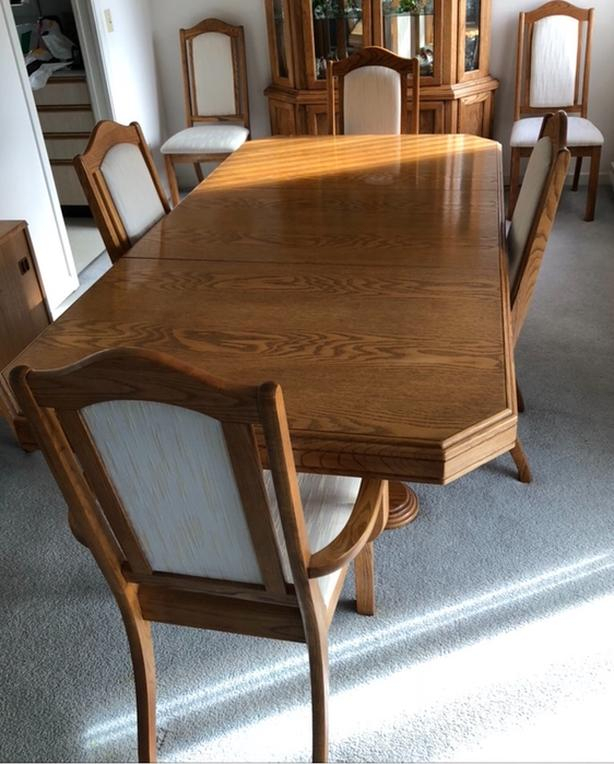 $275 · Moving! Dining Table, 6 Chairs Inside Wood Kitchen Dining Tables With Removable Center Leaf (View 23 of 25)