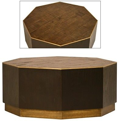 "28"" L Barnaba Coffee Table Solid Oak Wood Brass Rim Sheet Metal Plinth Base  