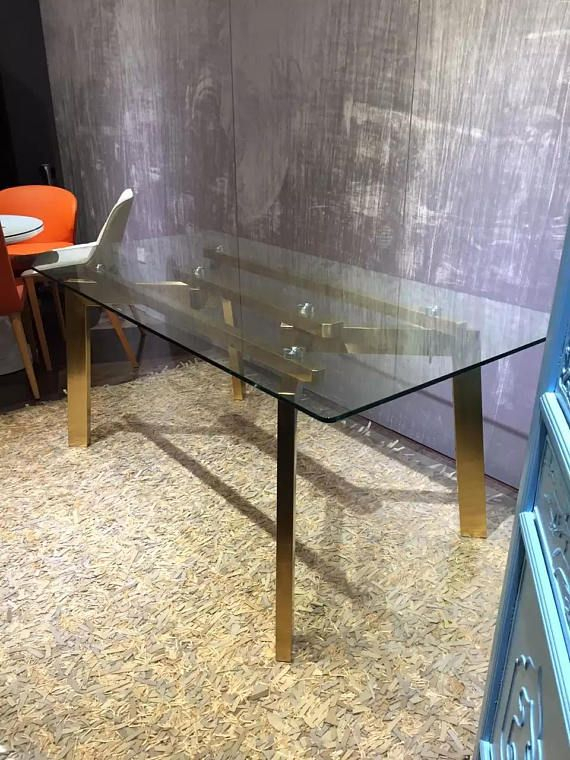 28'' Rectangular Gold Stainless Steel Table Base Glass With Regard To Glass Dining Tables With Metal Legs (View 6 of 25)