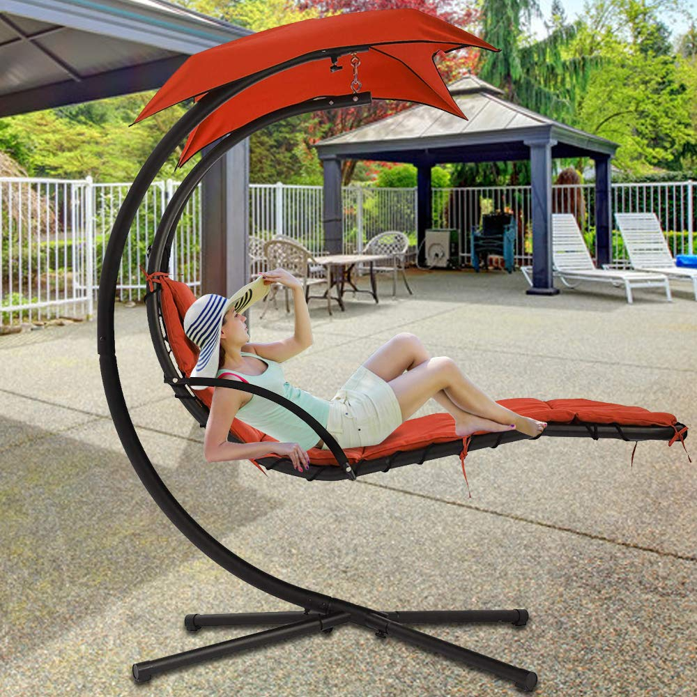280 Lbs Capacity Hammock Chair Hanging Chair Lounge Chairs Throughout Garden Leisure Outdoor Hammock Patio Canopy Rocking Chairs (View 25 of 25)