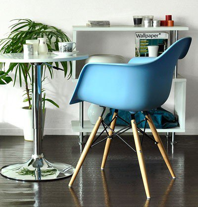 2Xhome – Set Of Two (2) Blue – Plastic Armchair Natural Wood Throughout Eames Style Dining Tables With Wooden Legs (View 23 of 25)