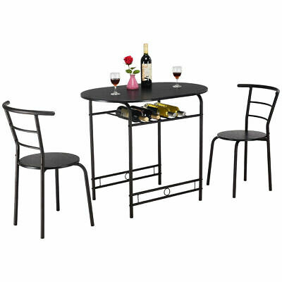 3 Pcs Dining Table Set W/1 Table And 2 Chairs Home Regarding 3 Pieces Dining Tables And Chair Set (Photo 9 of 25)