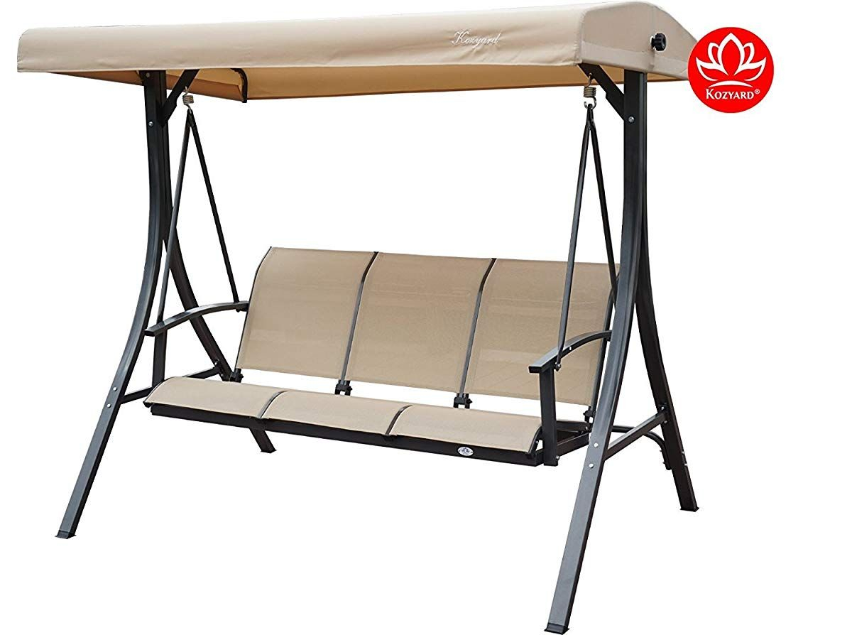 3 Person Outdoor Patio Swing With Strong Weather Resistant In 3 Person Outdoor Porch Swings With Stand (View 15 of 25)