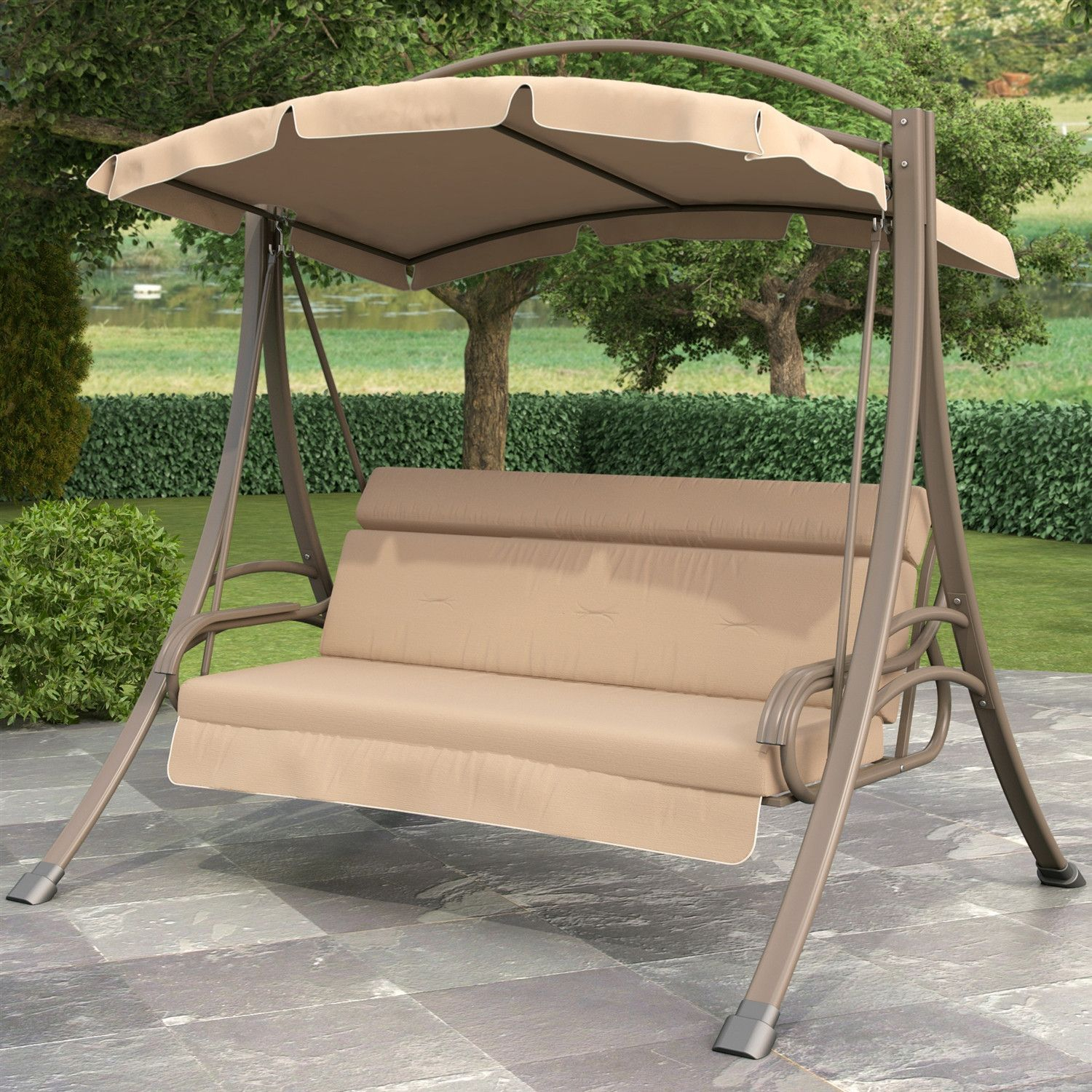 3 Person Outdoor Porch Swing With Canopy In Beige Tan Brown Throughout 3 Person Brown Steel Outdoor Swings (View 8 of 25)